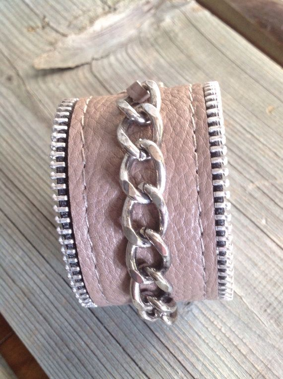Taupe Motorcycle Chic Cuff with Chunky by HeartnSoulHandbags, $35.00