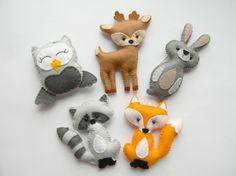 Woodland stuffed animals,  woodland decor, forest animals, woodland nursery decor, woodland ornaments, felt fox raccon bunny owl