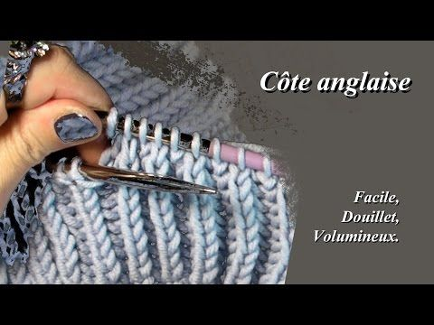 "Côte anglaise ou ""Point de brioche"" Point de tricot facile - YouTube"