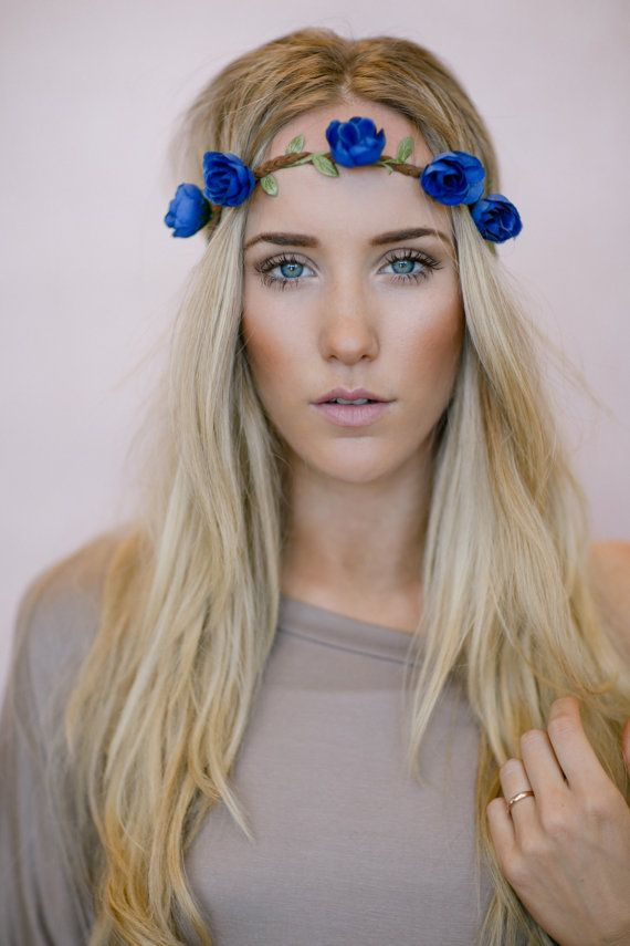 Reign of Flowers Crown, Boho Music Festival Headband Hair Accessories, Fashion Headbands with Flowers in BLUE on Etsy, $18.00
