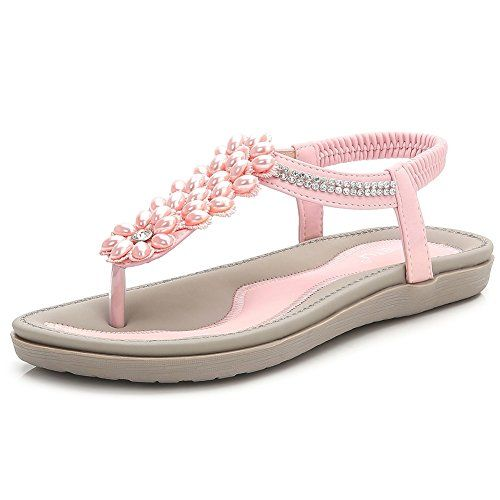 a90fa8869d0 Wollanlily Women s Summer Flat Sandals Bohemian T-Strap T... https