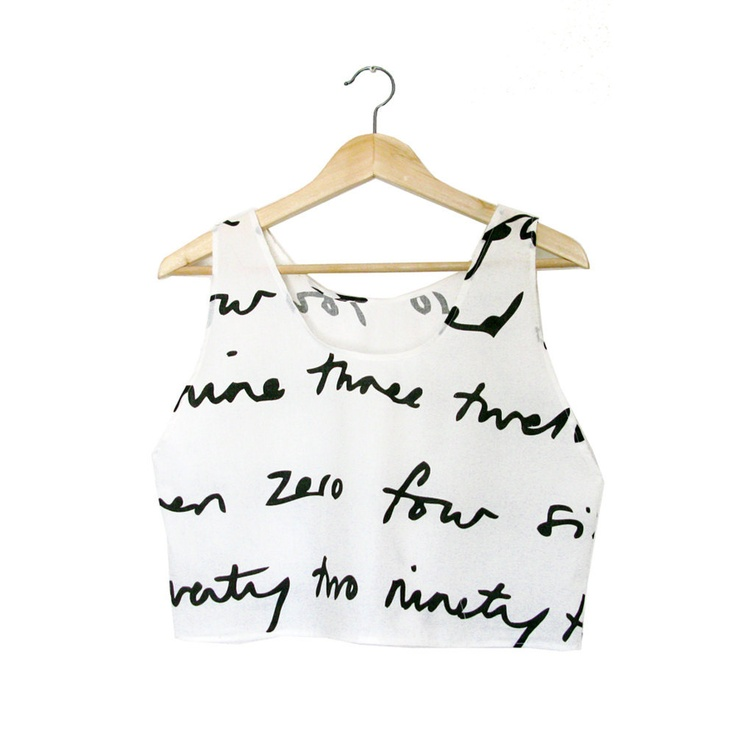Handwriting cotton crop shirt - crop tank - size S. $30,00, via Etsy.