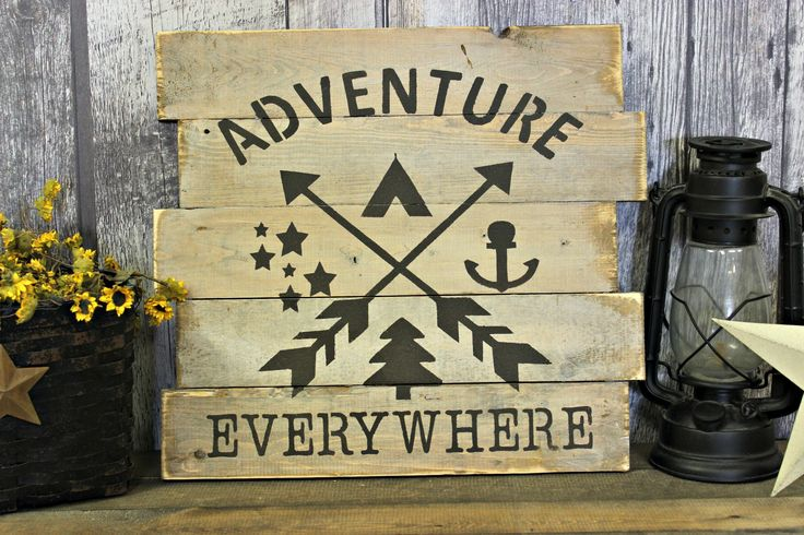 Adventure Everywhere. Rustric Decor. Wood Sign. Country Decor. Wall Decor. Gift. Ourdoors. Distressed. Made In Canada. by WhereTheCrowFliesCA on Etsy