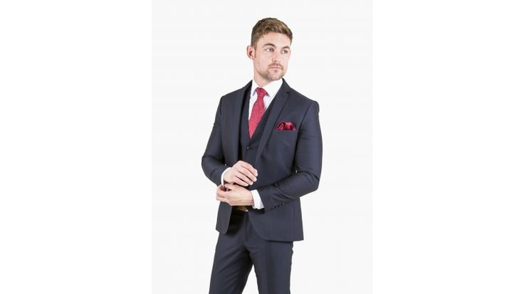 Navy Slim Fit Three Piece Suit - Dress dapper in this smart and quality navy three piece suit from the iconic Lambretta collection. This suit is slim fitting and therefore sits very close to the body, some customers may consider sizing up to get the desired look. This striking suit includes a jacket, matching waistcoat and slim fit trousers.