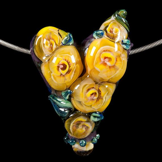 lampwork beads rose flower heart focal by