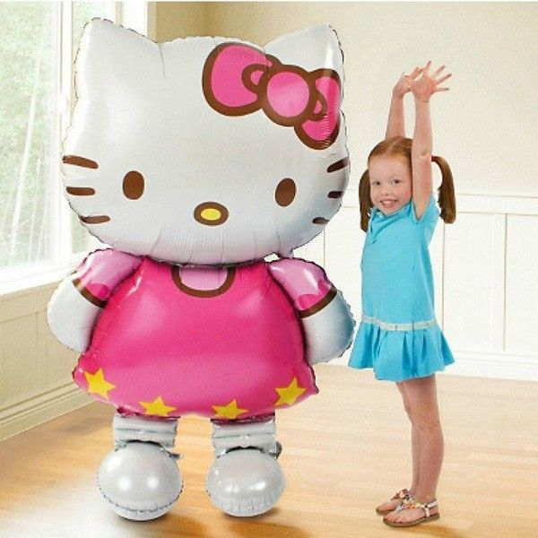大サイズ118*68センチメートルhello kittyインフレータブルバルーンおもちゃグロボス漫画猫誕生日デコレーションパーティー箔風船ドロップ無料