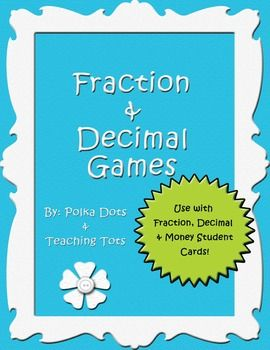 Here's a set of game directions to accompany the Fraction, Decimal and Money cards pinned here.