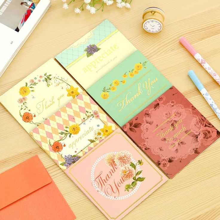 6pcs/lot Creative Sweet Flowers Square Blessing Greeting Card Message Card Thanksgiving Card