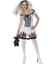 Sexy Zombie Bride Fancy Dress Costume (Black/White)