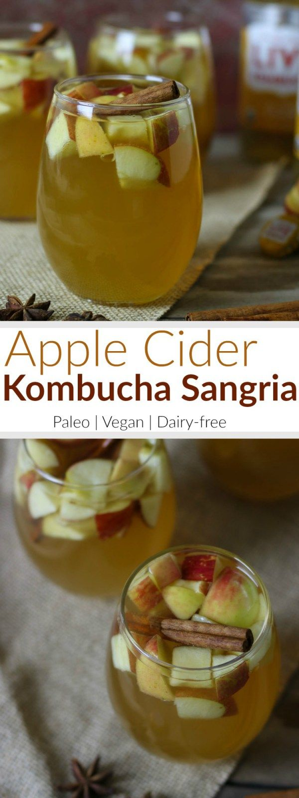 Apple Cider Kombucha Sangria recipe combines no-added sugar spiced apple cider, white wine, apple brandy, ginger kombucha, chunks of perfectly crisp apples and deliciously spiced with cinnamon sticks, whole cloves and star anise. A perfect Holiday cocktail | Paleo | Vegan | therealfoodrds.com
