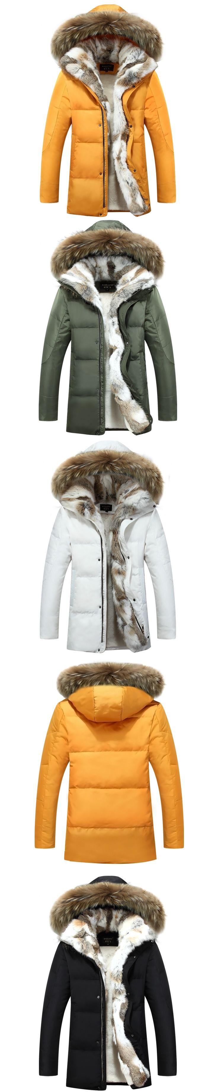 2016 Winter Men's Duck Down Jackets Coats Real Rabbit Fur Men Women Lovers Fashion Thick Warm Parka Mens jaqueta masculina S-5XL