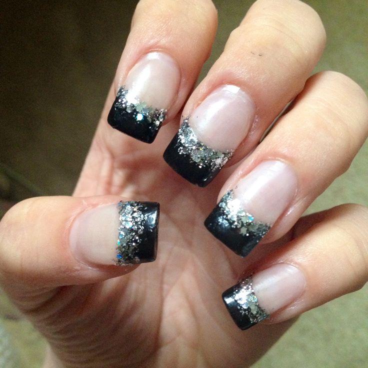 Black acrylic nail tip with silver. Acrylic nail tip design
