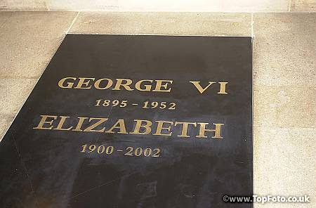 The entrance to the vault in St George's Chapel, Windsor, where Queen Elizabeth, the Queen Mother was intered, after her funeral in Westminster Abbey.  She was laid to rest alongside her husband, King George VI, who died in 1952.  * The casket that contains the ashes of Princess Margaret, who died in February, is also being placed in the vault.