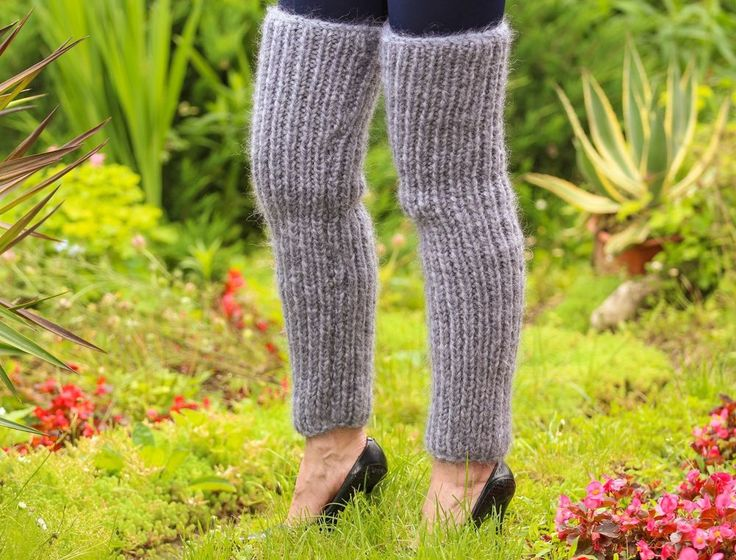 Grey hand knitted mohair spats Thick GRAY Fuzzy GAITERS leg warmers SUPERTANYA #SuperTanya #Casual