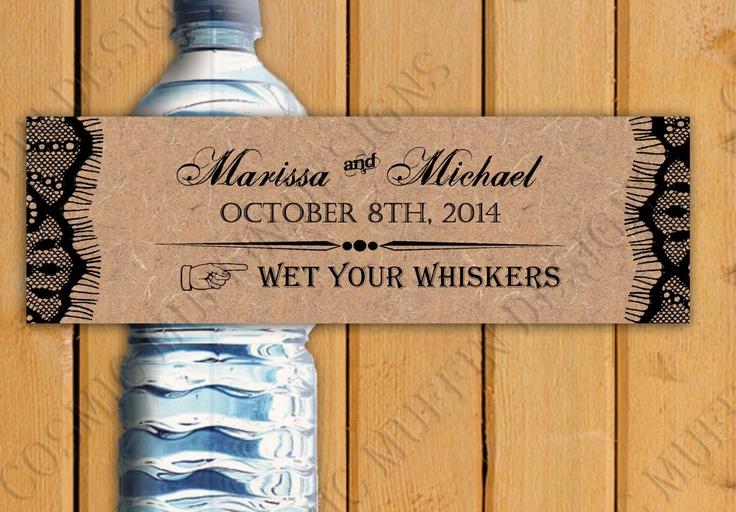 Rustic Water Bottle Label - Wet Your Whiskers - Wedding or Party - DIY U Print Jpeg. $8.00, via Etsy.