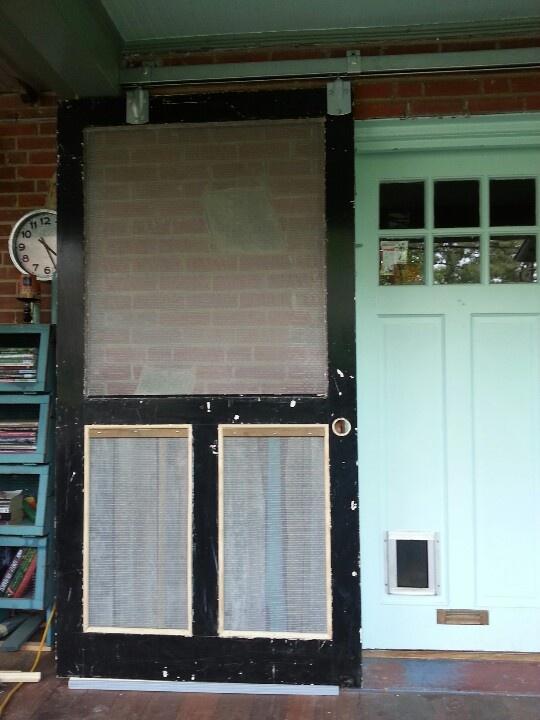 Old screen door with barn door hardware dream porch for Barn door screen door
