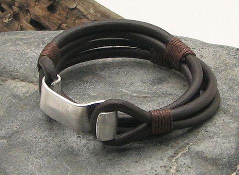 Brown Leather Wrap Bracelet with Hook Clasp - OZWristGear.com - OZ Wrist Gear Leather Bracelets