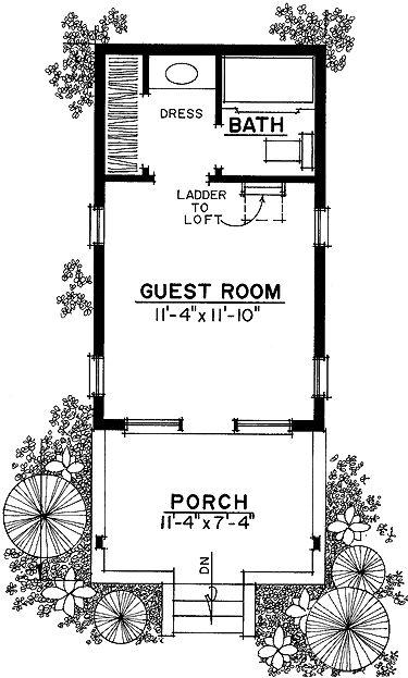 Floor plan bunkies pinterest for Cottage bunkie plans
