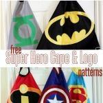 FREE Super Hero Cape Logo Patterns | Vanilla Joy - boys fancy dress idea or fun playing dress up