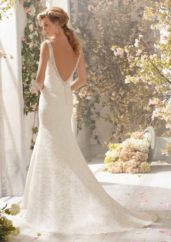 Beautiful Column Lace Wedding Dress With Beaded Straps And Low Scoop Back