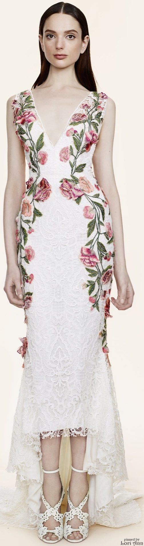 Marchesa Resort 2016. White maxi floral dress. women fashion outfit clothing style apparel @roressclothes closet ideas