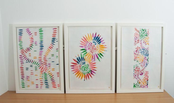 Colour Explosion. Original cut work artworks. Set of three.