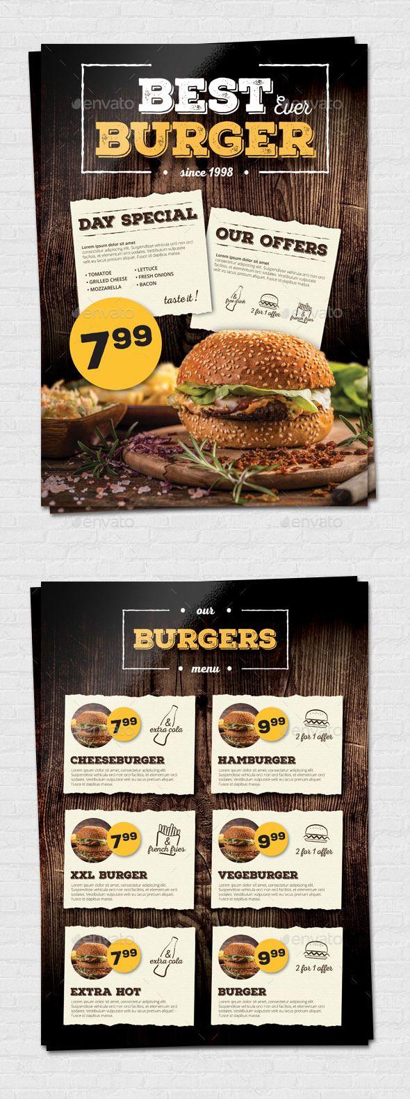 Fast Food Restaurant Menu - Food Menus Print Templates Download here : https://graphicriver.net/item/fast-food-restaurant-menu/19164433?s_rank=120&ref=Al-fatih