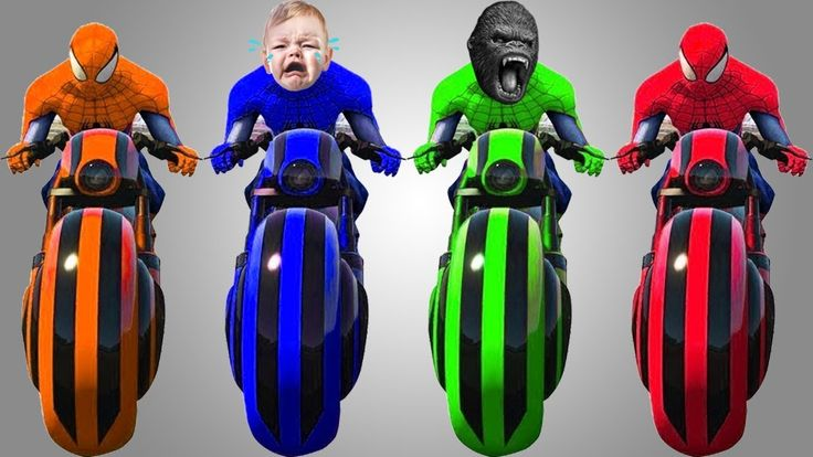 Bad Baby Learn Colors with Motorbike and Spiderman for Kids Children Tod...