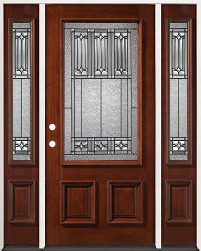 3 4 Lite Mahogany Prehung Wood Door Unit With Sidelites 53 Beautiful Discount Doors