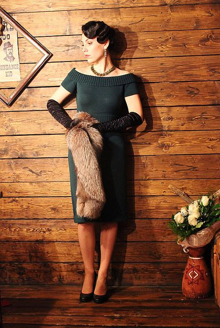 Classic 1940's dress - its knitted, so one day when I have that confidence, I might try making this!