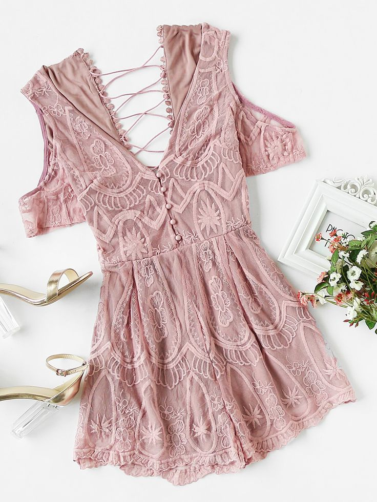 Shop Crisscross Back Embroidered Mesh Overlay Plunging Playsuit online. SheIn offers Crisscross Back Embroidered Mesh Overlay Plunging Playsuit & more to fit your fashionable needs.