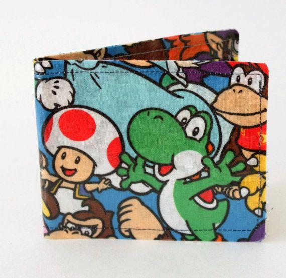 Super Mario Bothers Colorful Unisex BiFold, Credit Card Wallet, Geek Wallet, Gamer Wallet, Nerd Wallet, Nintendo, Fandom, Yoshi, King Koopa