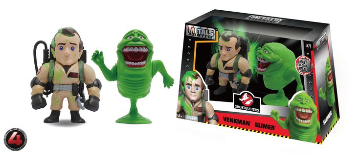 "Jada Diecast Classic Ghostbusters 2 pack Peter Venkman slimmed and 4"" Slimer action figure"