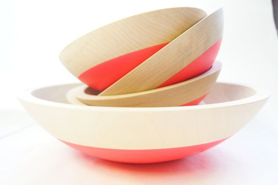 Wooden Salad Bowl Set of 5 Neon Pink Summer by WindandWillowHome