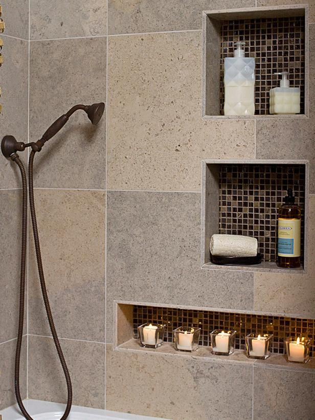 Earthy Bathroom : Rooms : HGTV - large tiles, built-in storage niches