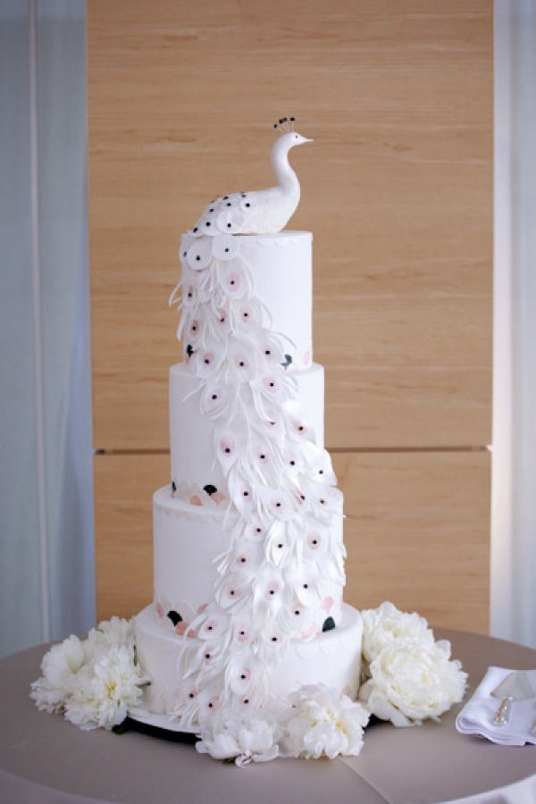 Indian Weddings Inspirations. White peacock Wedding Cake. Repinned by #indianweddingsmag indianweddingsmag.com #weddingcake