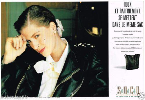 Publicite-Advertising-1989-2-pages-Maroquinerie-sac-Soco-Estelle-Lefebure