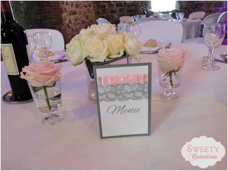 Menu pour mariage th me rose poudr et gris cr ation sweety cr ations d coration table faite - Deco rose poudre ...