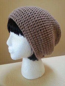 Examiner.com: The Weekend Slouch - Free crochet hat pattern by Acquanetta Ferguson. Dk yarn,  4mm hook. Double crocheted hat (UK treble crochet)
