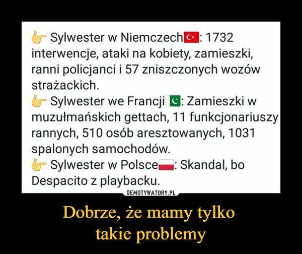 Dobrze, że mamy tylko takie problemy – Sylwester w Niemczech 1732 interwencje, ataki na kobiety, zamieszki, ranni policjanci i 57 zniszczonych wozów strażackich. Sylwester we Francji El : Zamieszki w muzułmańskich gettach, 11 funkcjonariuszy rannych, 510 osób aresztowanych, 1031 spalonych samochodów. Sylwester w Polsce®: Skandal, bo Despacito z playbacku.