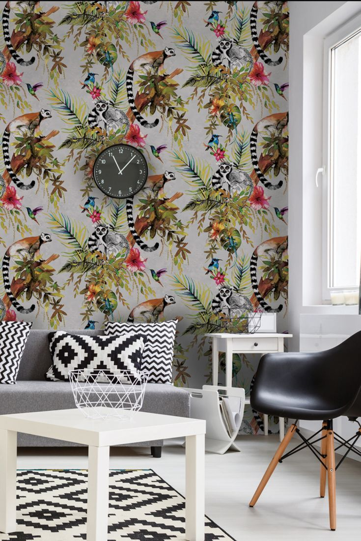 The new Albany Imagination wallpaper collection features this brilliant Lemur wallpaper design.