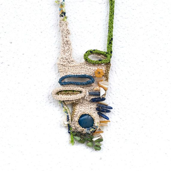 Freeform Crocheted Necklace in Ecru,Green Lime,Blue and Gold,Blue Agate,Sodalite,Amber Sea Shell, Serpentine