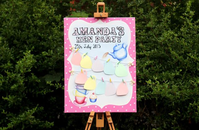 Hen Party message board/canvas Tea party themed!