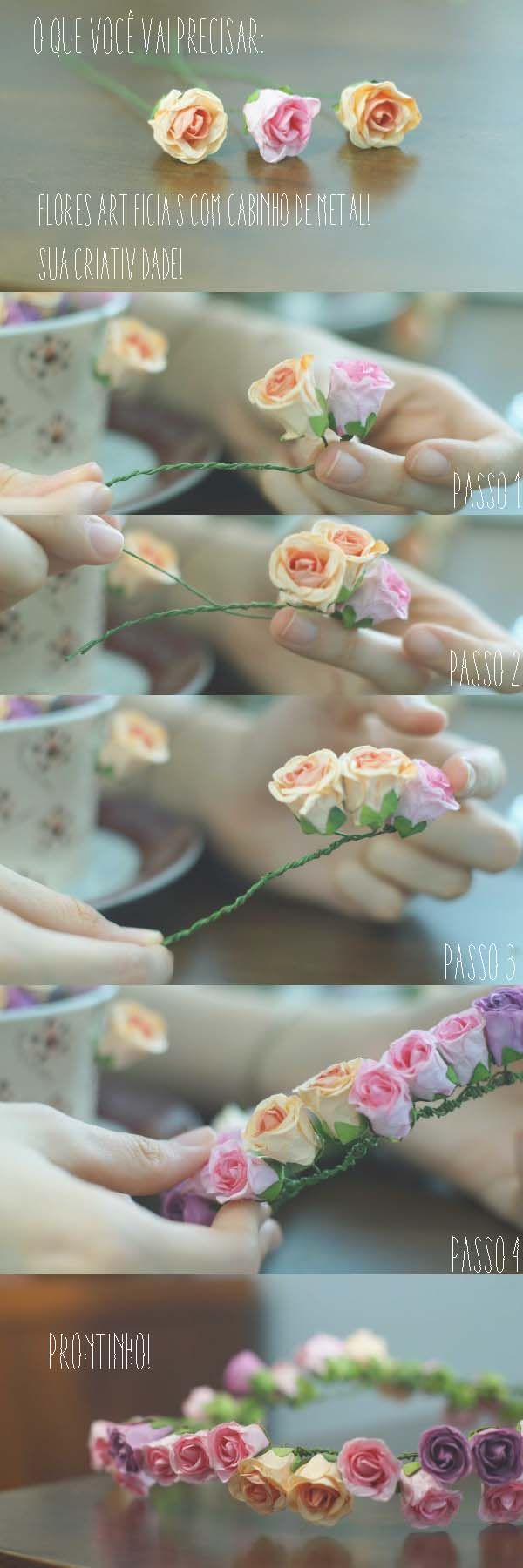 DIY de coroa de flores!                                                                                                                                                                                 Mais