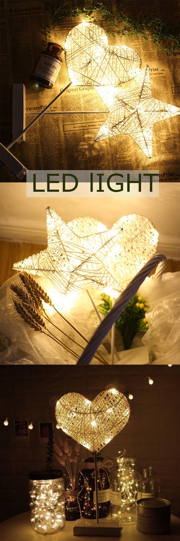 US$12.99 LED Night Light Star Heart Shape Decorative Lightings Home Christmas Party Romantic Decor #newchic#home#LED#light#decor