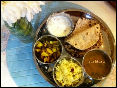 Indian veg thali which has chapati,palak dal,Alloo bhujia ,lemon rice and curd ,comfort food for me,