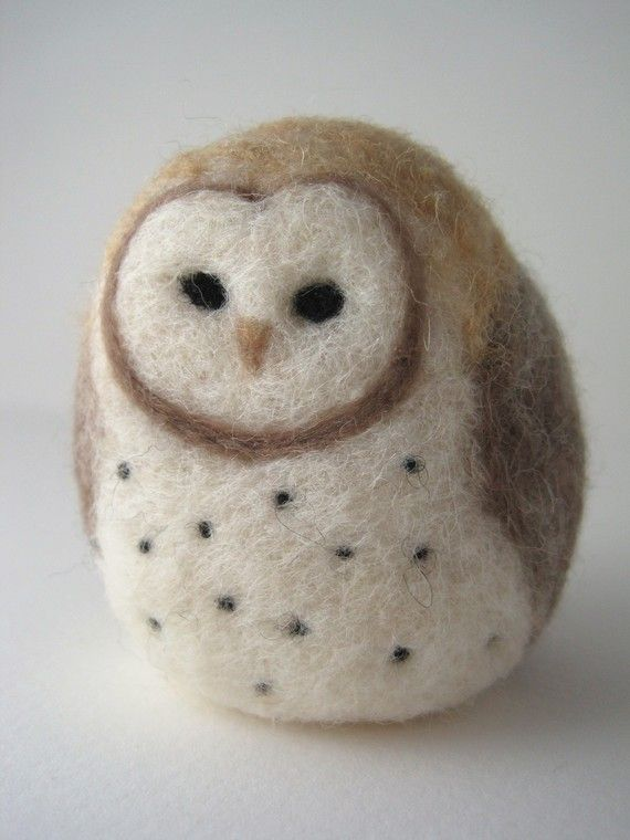 Barn Owl Needle Felted Wool Sculpture