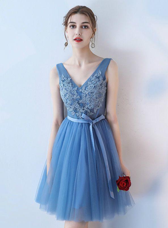 2769086a5e9e Blue A-line V-neck Applique Tulle Short Prom Dress Homecoming Dress ...