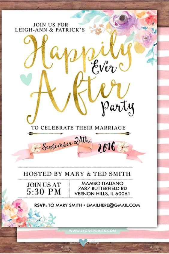 Happily ever after party invitation with a Boho look by LyonsPrints. #wedding #afterparty #invitations