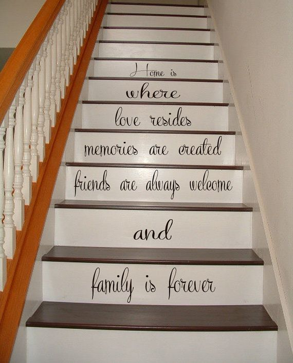 10 % DISCOUNT Wall Decal Quote Family Is Forever Staircase Decals Stairway Design Stair Riser Stickers Vinyl Sticker Living Room Decor Home is